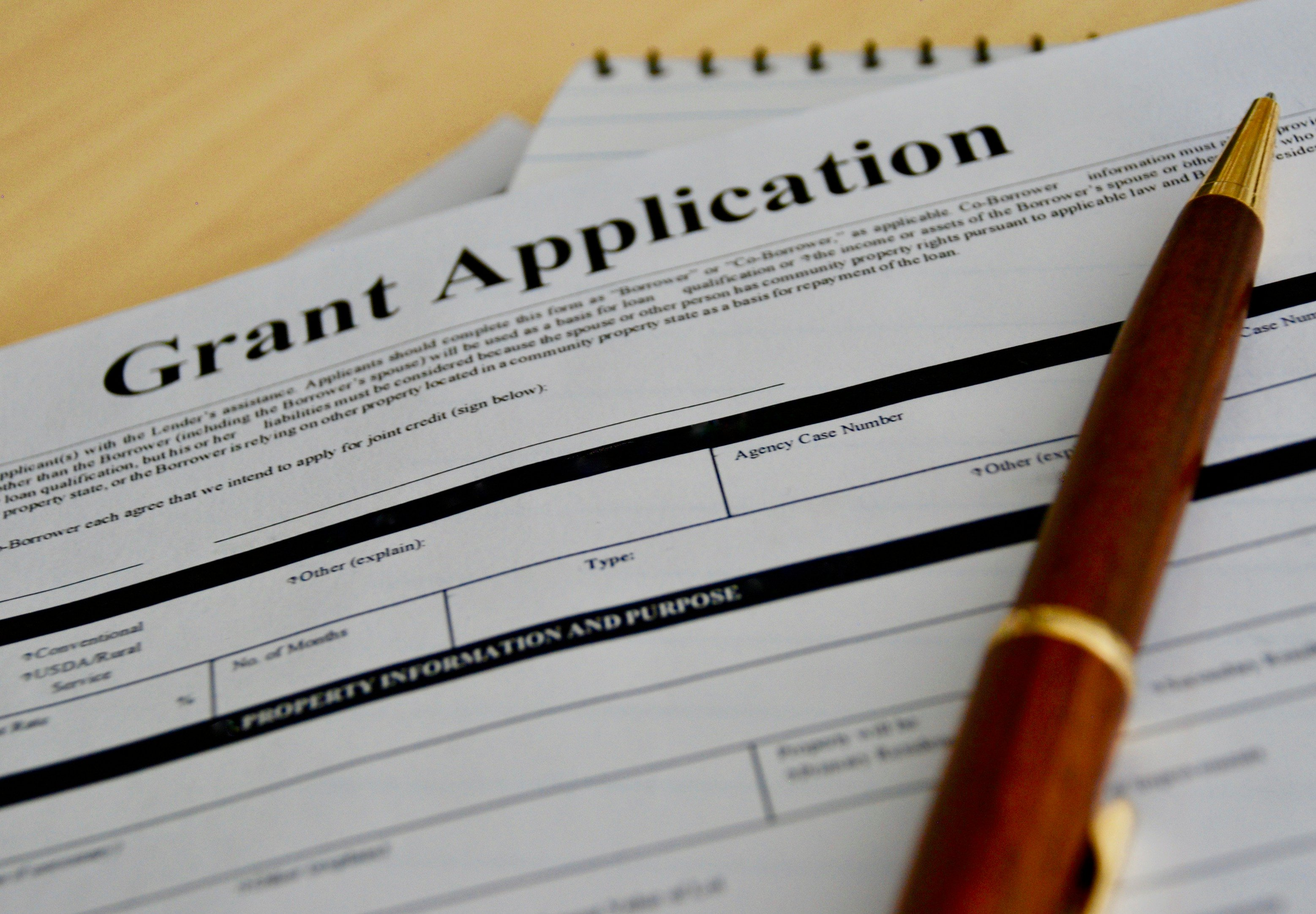 Photo of grant application